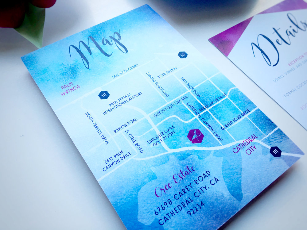 Kelsey and Adam Whimsical Wedding Invitation Maps