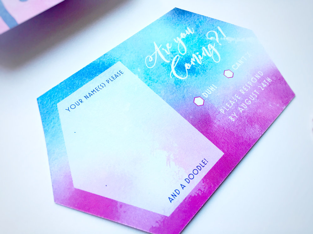 Kelsey and Adam Whimsical Wedding Invitation RSVP