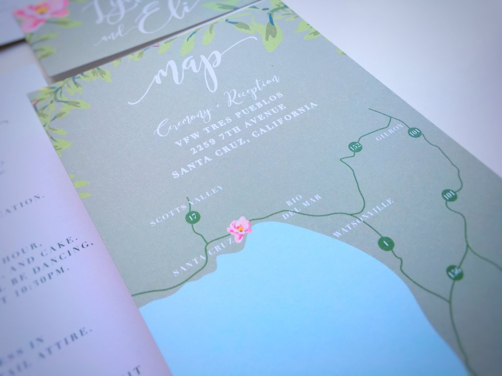 Lydia and Eli Whimsical Rustic Wedding Invitation Suite Map Card