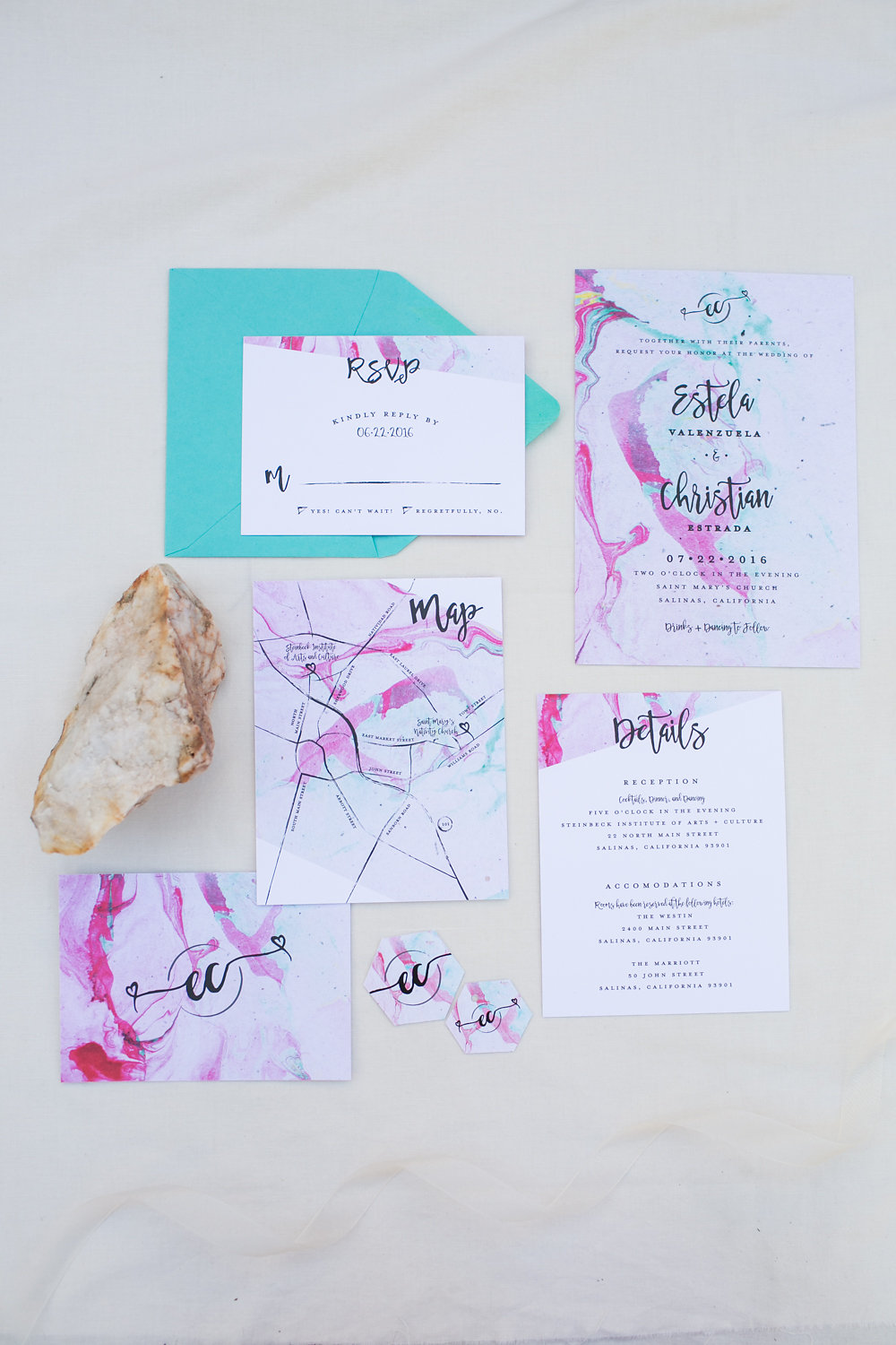 Modern Marble Whimsical Wedding Invitation Suite