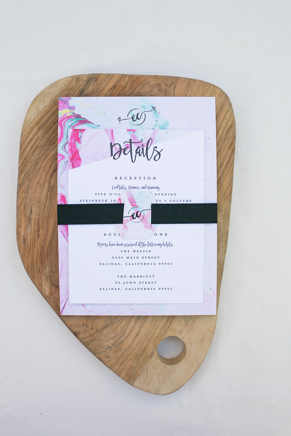 Modern Marble Whimsical Wedding Invitation Suite Details Card