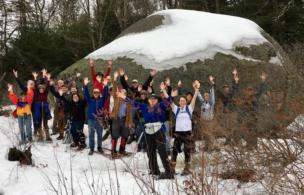More than 20 people turned out this morning to see Dunbarton's biggest boulder.