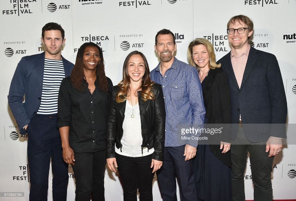 Director Danielle Katvan, Producers Saleah Smith and Joel Pincosy, and lead actors Roe Hartrampf, Joel Nagle and Rebecca Watson on the red carpet at The Foster Portfolio's world premiere at the 2017 Tribeca Film Festival.
