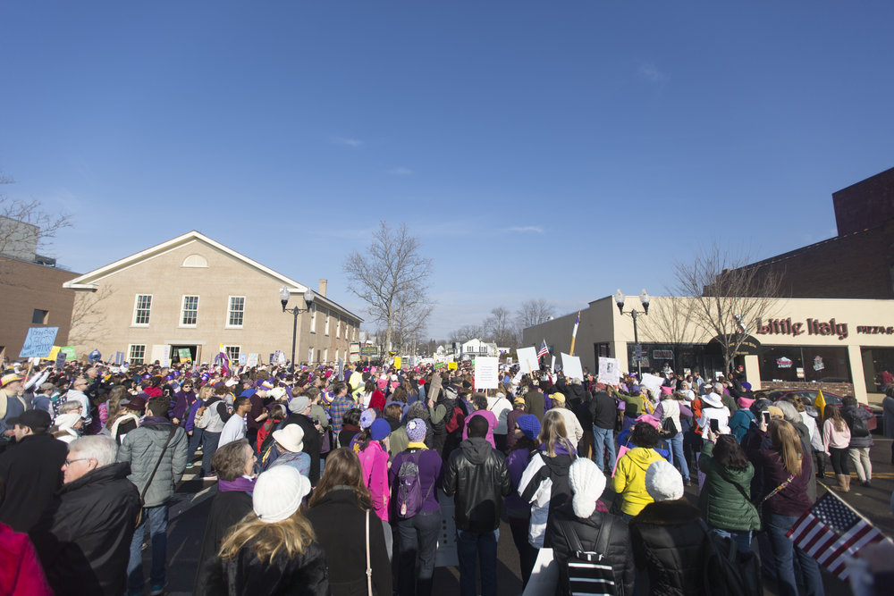 Protestors gather for a political rally in Seneca Falls, N.Y. on Jan. 21, 2017.