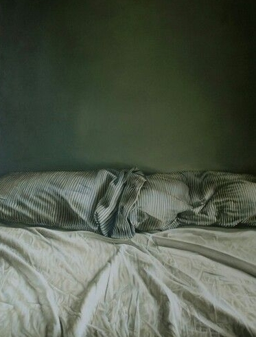 Helen Masacz : Empty Bed / How Can You Sleep At Night. Oil on Board