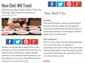 NAMED ONE OF THE BEST PRIVATE CHEFS IN NYC  TastingTable July 1, 2015