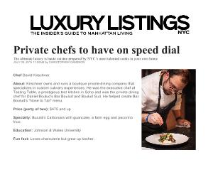 NAMED ONE OF NYC'S TOP PRIVATE CHEFS  Luxury Listings NYC July 2016