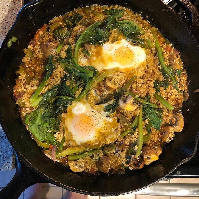 Cauliflower rice paella, farm eggs, CSA greens