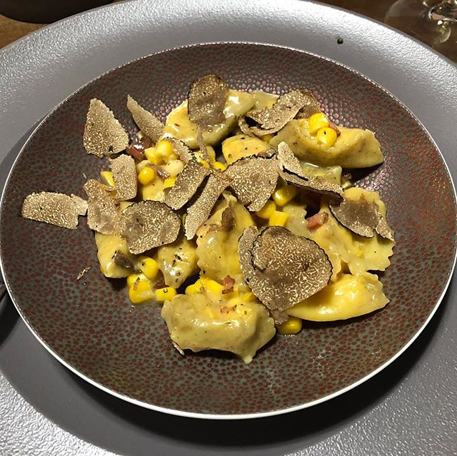 Jersey corn agnolotti, guanciale, Burgundy truffle... Truffles were shaved over the top but also were... . . . #eeeeeats #privatechef #privatedining #chefsofinstagram #cheflife #huffposttaste #f52grams #eatmunchies #buzzfeast #instafood #foodvood #forkyeah #food #foodie #foodgasm #eater #foodandwine #foodporn #tastingtable