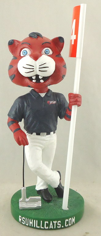 Rogers State Unv - Golfing Mascot 110731, 7inch Trim Bobblehead with Flag.JPG