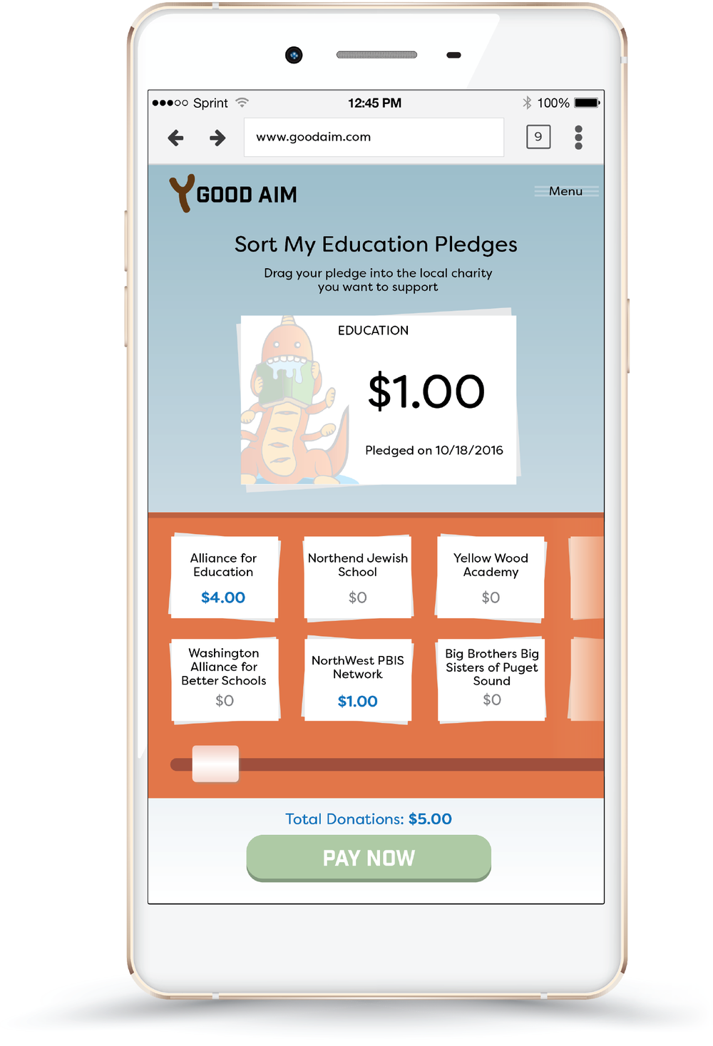 WHILE spendING money responsibly. - We were constrained by the Apple Store's policy of not collecting donations on behalf of non-approved charities. So instead, we encourage donations through a pledging system.This allows micro-donations and has the added benefit of parents monitoring how much money is spent and where.