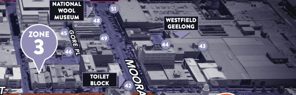 Zone 3: Moorabool St - Westfield: Malop St Exit open 24Hrs (ground floor only)Westfield: Moorabool St Exit closes 10pm on FridaysWestfield: Yarra St Exit closes 9.30pm on FridaysWestfield: Brougham St Exit closes 10pm on FridaysCarlton Central Car Park (Mon-Sun All Day Parking)Cummings Pl (Mon-Friday All Day Parking)