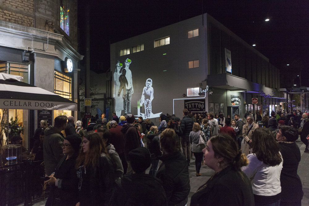 Geelong After Dark 2018 Baby Guerilla with Olaf Meyer projection Photographer: Christina Francis