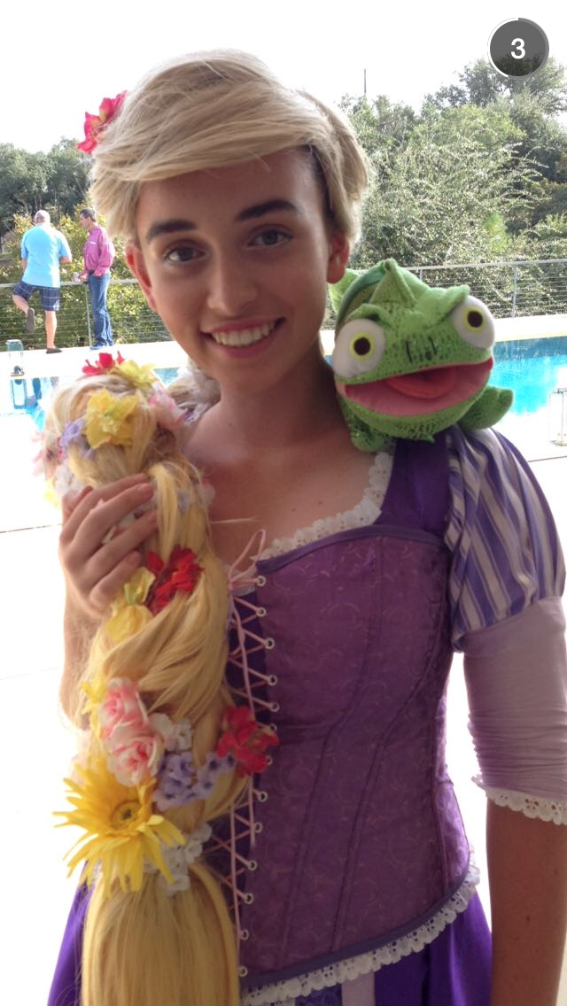 Katherine wearing her Rapunzel costume.