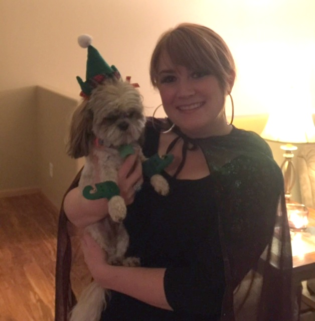 Here is Leslie and her friend Lily. Lily is dressed up like an ELF!