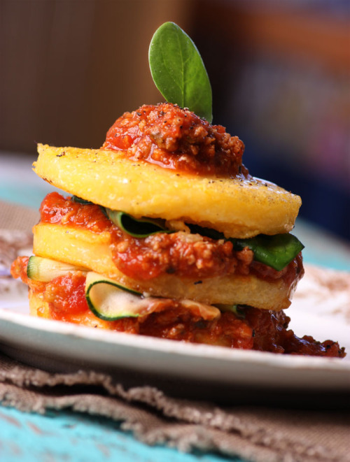 Stacked Polenta with Bolognese