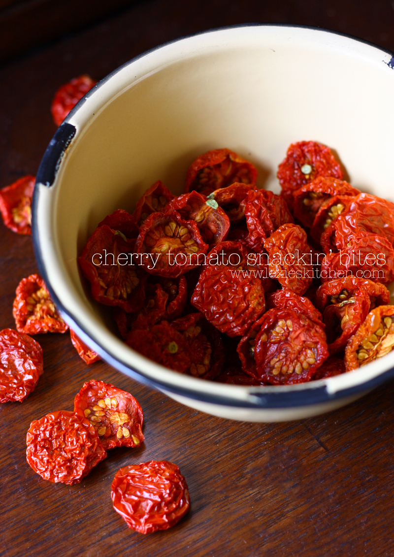 "Got a cherry tomato bumper crop? How about dehydrating them? Great tasting little ""sun dried"" snack!"