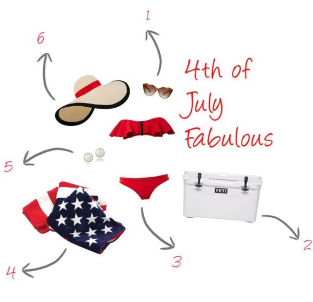 """1. Everyone needs a fun inexpensive pair of beach shades! Try these Miss Selfridge Tortoise Cat Eye Glasses for a little retro inspired look.    2. Staying cool in the summer heat is essential! A Yeti Cooler can keep your beverages cold for what seems like days!  3. Independence Day is filled with lots of socializing and of course the showing off of a brand new swimsuit! Try this red festive number by Lisa Marie Fernandez and make a splash.  4. You can't hit the water without a great beach towel!Head over to Glit.com to grab one, currently on sale for $10.  5. Pearls complete any outfit, even a swimsuit. You can get this pair of gorgeous studs by Carolee from LordandTaylor.com.   6. Avoid wrinkles and sun damage by wearing this Eugenia Kim wide brimmed sun hat, available at neimanmarcus.com.  Now that you have everything needed for a truly spectacular fourth....it's time to light your sparklers and get the party started!  PS: If your holiday party is swankier than swimsuit attire...head over to the shop tab and check out the """"Annabelle"""" (below) or the """"Britton.""""Both are perfect and patriotic!"""