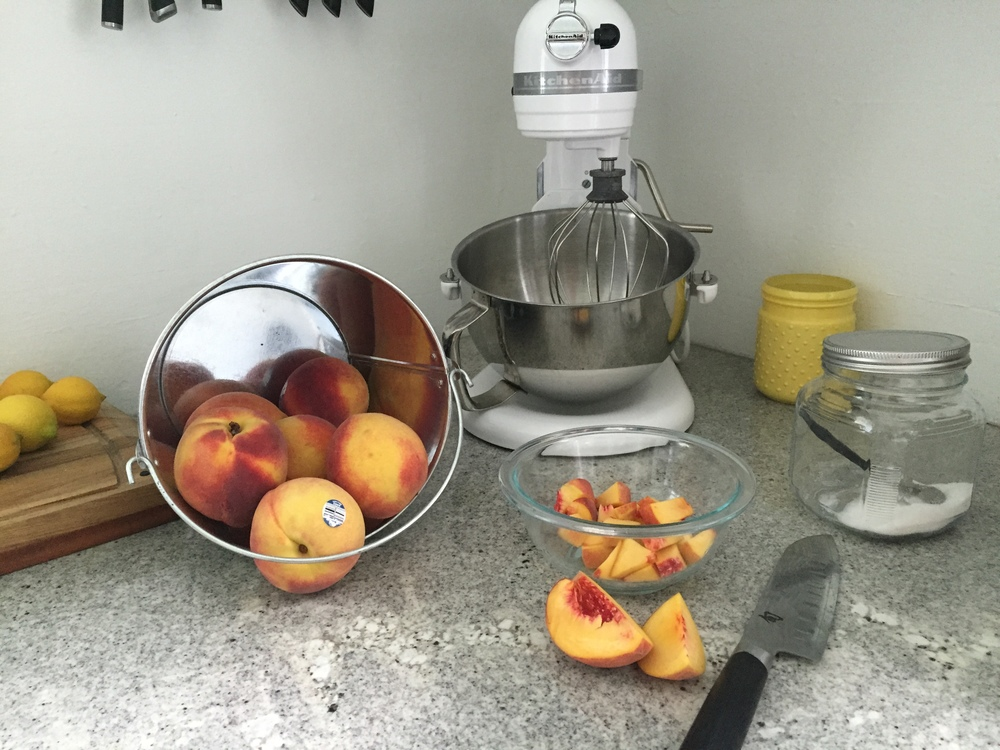 Slice peaches and place in a small bowl.