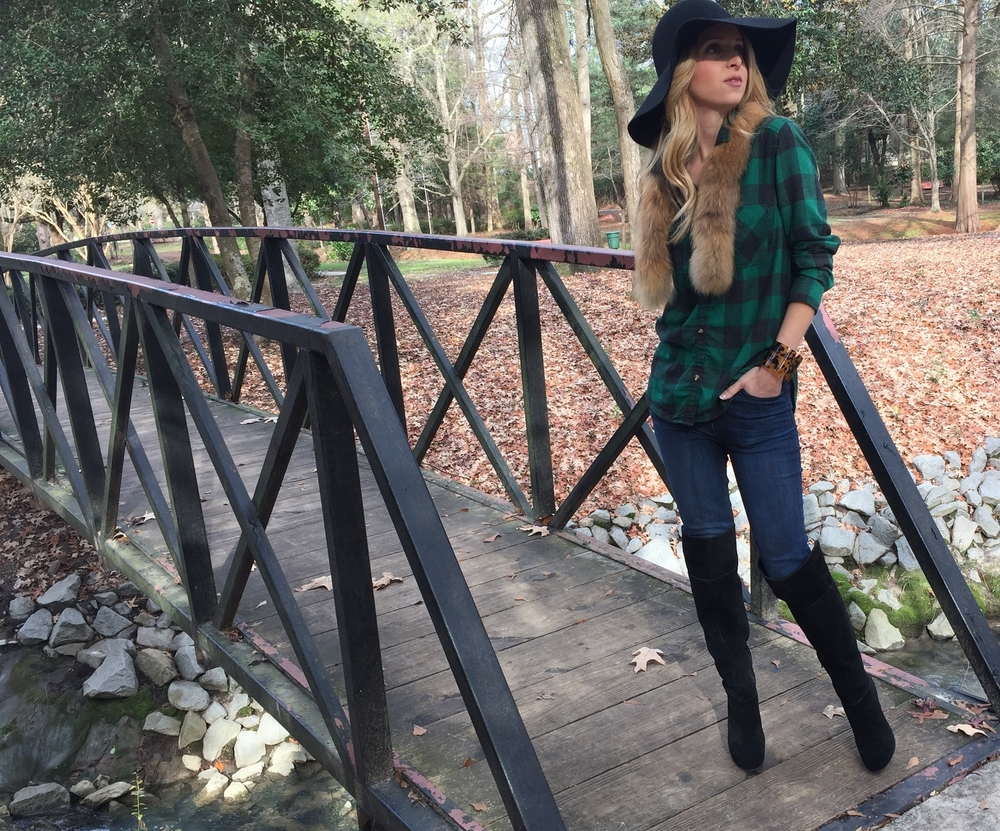 Hat and Fur; Vintage,   JEANS & TOP,  BOOTS  ,Bracelet; Gypsy Boutique, and Hair; T im with the Tim Smith Salon