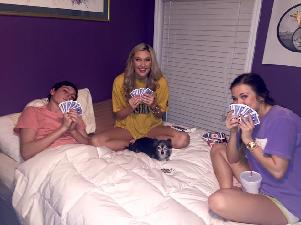 Marley, and a few friends enjoying a low key evening over a game of cards.