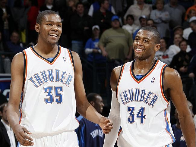 Desmond Mason (right) with Kevin Durant in 2009.Source:Getty Images