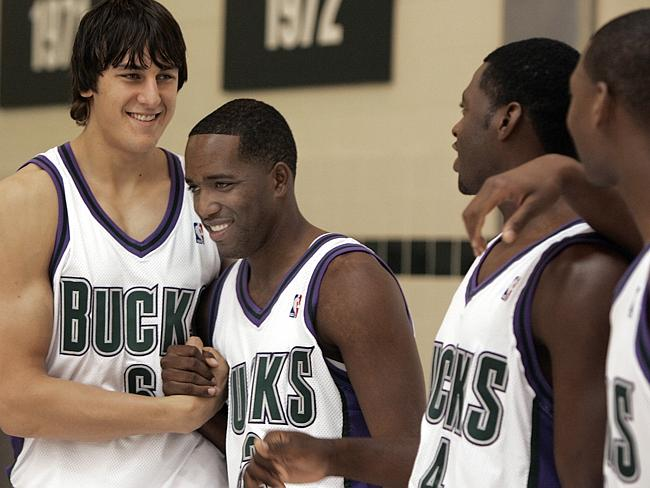 Bogut, Michael Redd, Mason and Bobby Simmons at media day with the Bucks.Source:News Limited