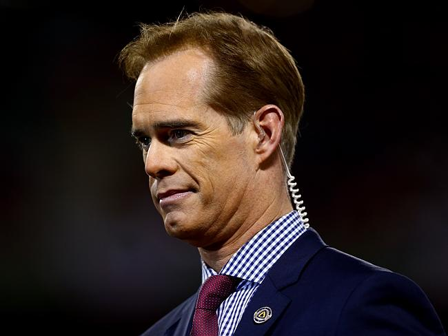 Joe Buck was attracted to questions Mason painted on a canvas. He shelled out $8,500 for the work.Source:Getty Images