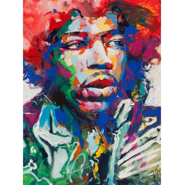 Loving this Hendrix painting by Artist Voka. The Austrian artist Voka coined the term spontaneous realism to describe the dynamic creative process of his representational and impressionistic imagery. #Hendrix #Voka #Art #Dope #Legend #Classic #rockandroll #Music #Expression 🎨