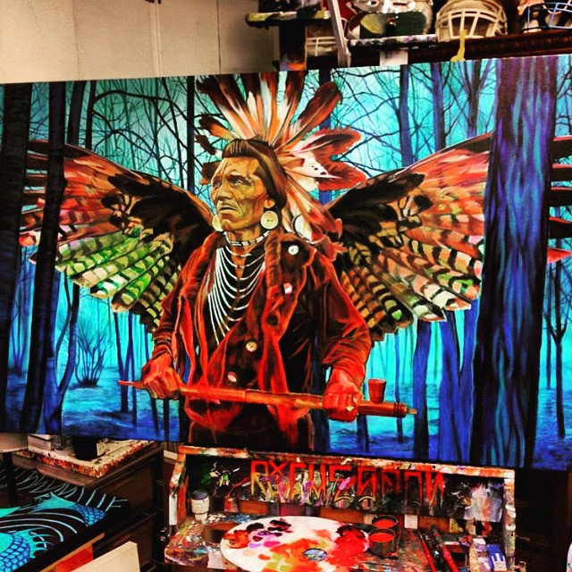 "In love with this piece by one of our Athlete Artist @richesson called ""Medicine Man"" 🎨 #Colors #Culture #americanindian #Different #Art #Talent #Artist #AART #Love #dopeart #Creativity #NativeAmerican #Indian 👉 www.Athletesforart.com"