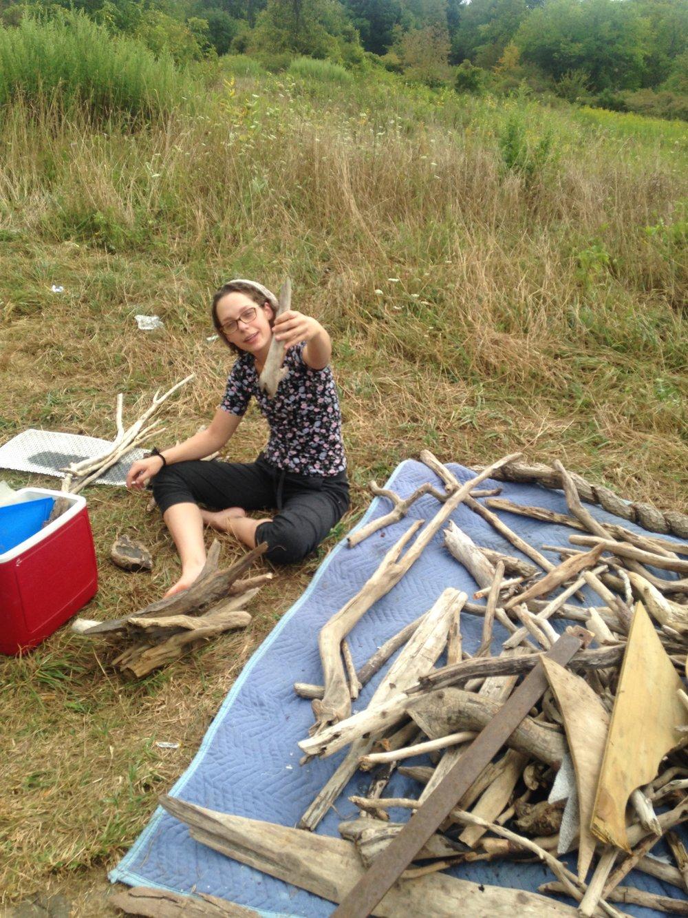 Organizing my truck load of drift wood.