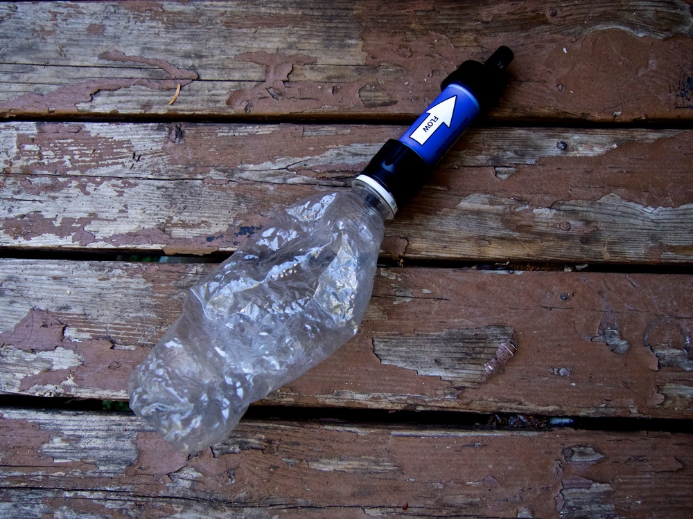 Sawyer Squeeze with a repurposed plastic water bottle