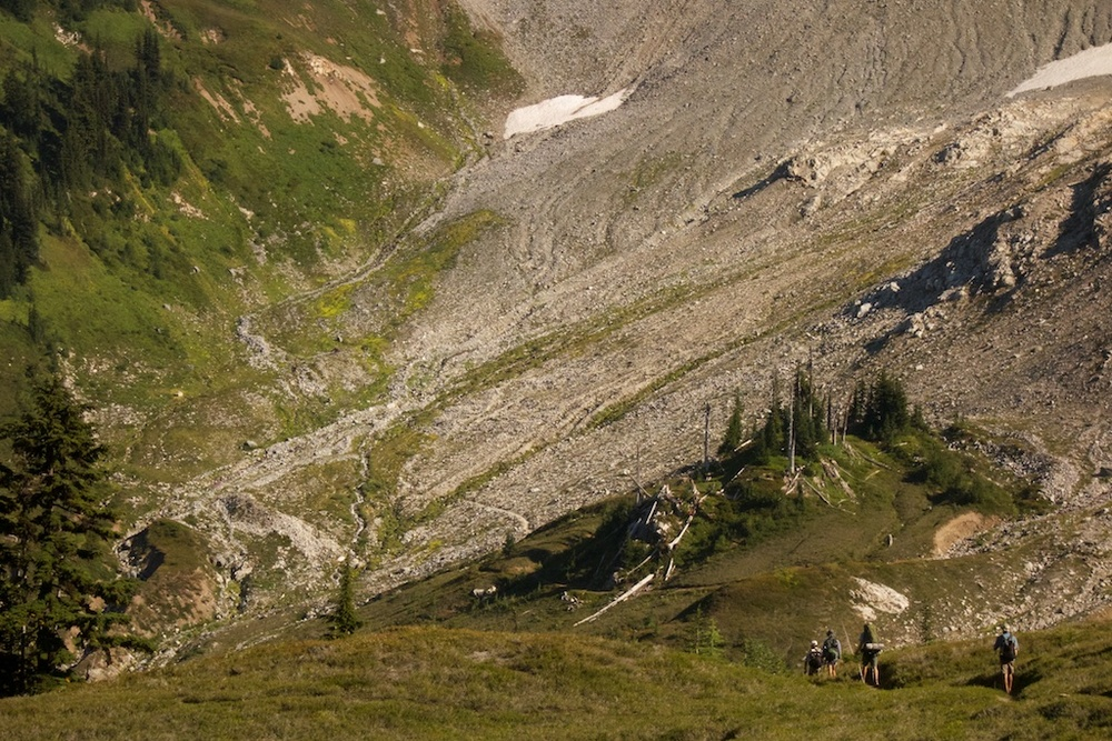 The Pacific Crest Trail descending from Glacier Peak, Washington.