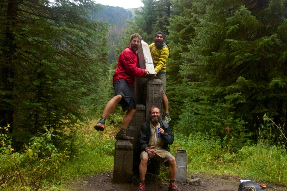 Colin Arisman at the Canadian Border with friends at the completion of their 2668 mile thru-hike.