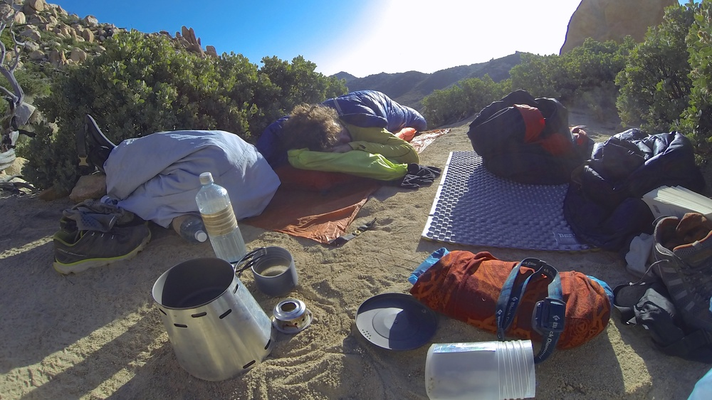 Our gear spread out after a night under the stars in Southern California.