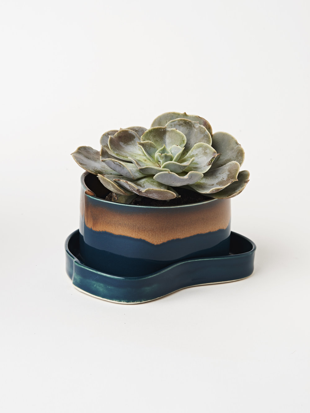 Planter w/ Tray - Teal Blue