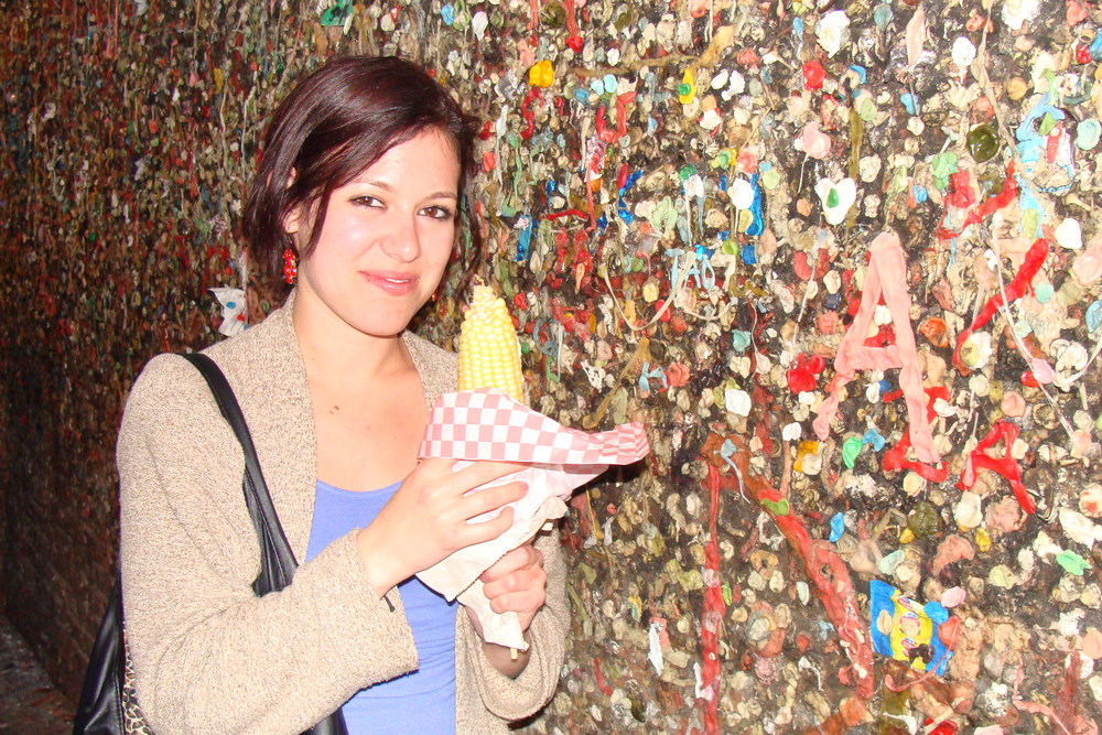 Me standing next to the Bubblegum Alley in San Luis Obispo. This photo was used for my about page on littlechefbigappetite.com