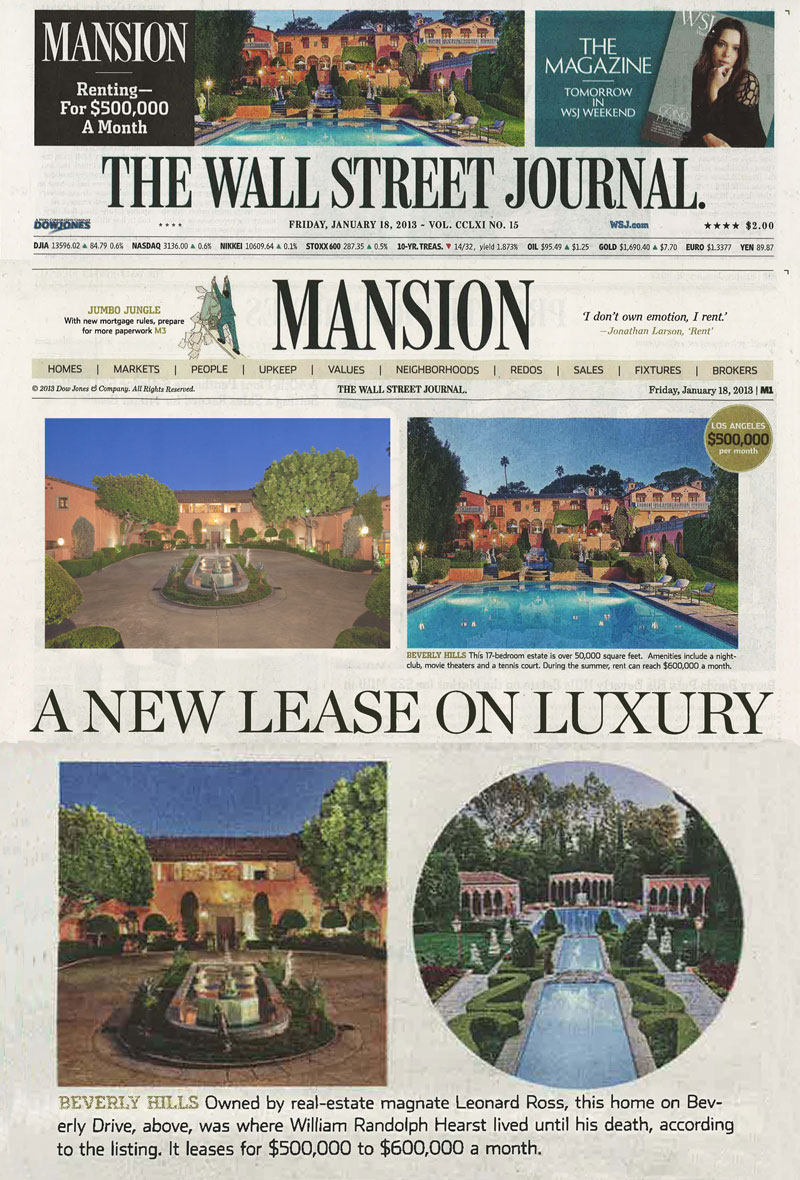 Wall Street Journal newspaper in print, WSJ mansion section.jpg