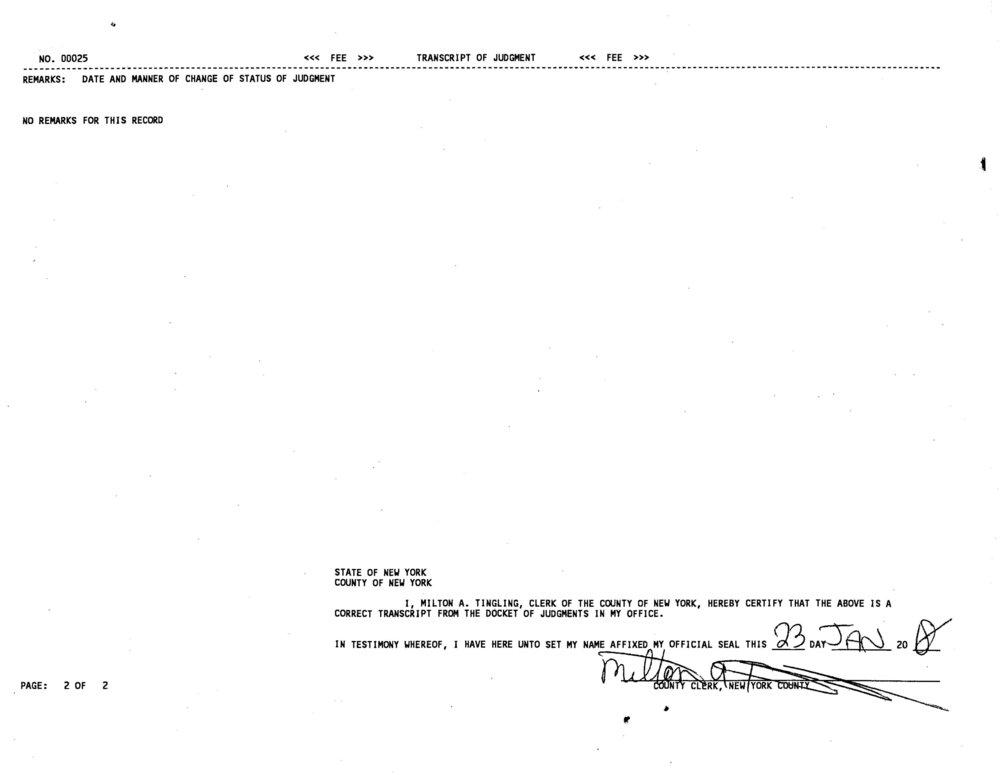 Transcript of Judgment (Michael DeRosa Exchange, LLC vs Owasco Country Club, Inc.)_Page_2.jpg