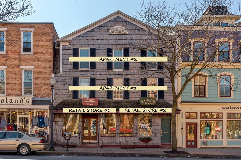 Charming shake shingle building situated in Skaneateles's historic downtown business district located in-between the iconic Roland's and Cate and Sally building.