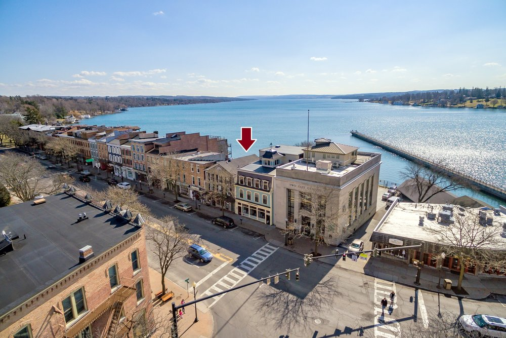 Rare opportunity to purchase an entire building on Skaneateles Lakes downtown shopping row.      This is an ideal situation for a Buyer seeking to live, work, or own property on Skaneateles Lakes beautiful and highly desired downtown shopping row.