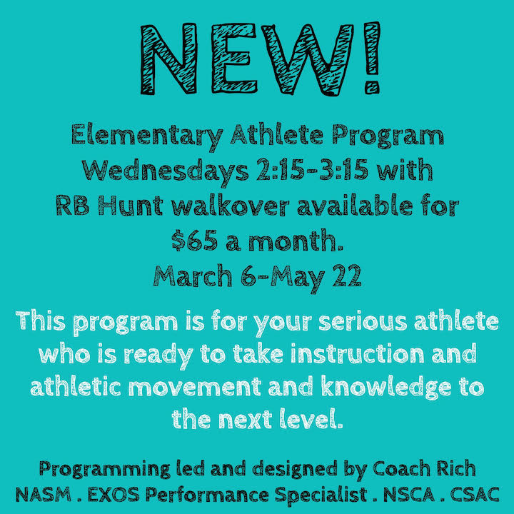 Elementary Athlete - March 6-May 22 $65 monthlyWednesday 2:15-3:15RB Hunt walkover availableLocation at Anastasia FitnessNo class Spring Break 3/20Minimum class size 5 Max class size 10