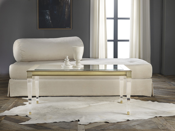 "Monroe Table - Size: Square: 42""Sqr x 21""H, Rectangular: 30.5""W x 48""L x 21""H.  Acrylic leg, glass top, metal brass finish. Available in side tables and console table."