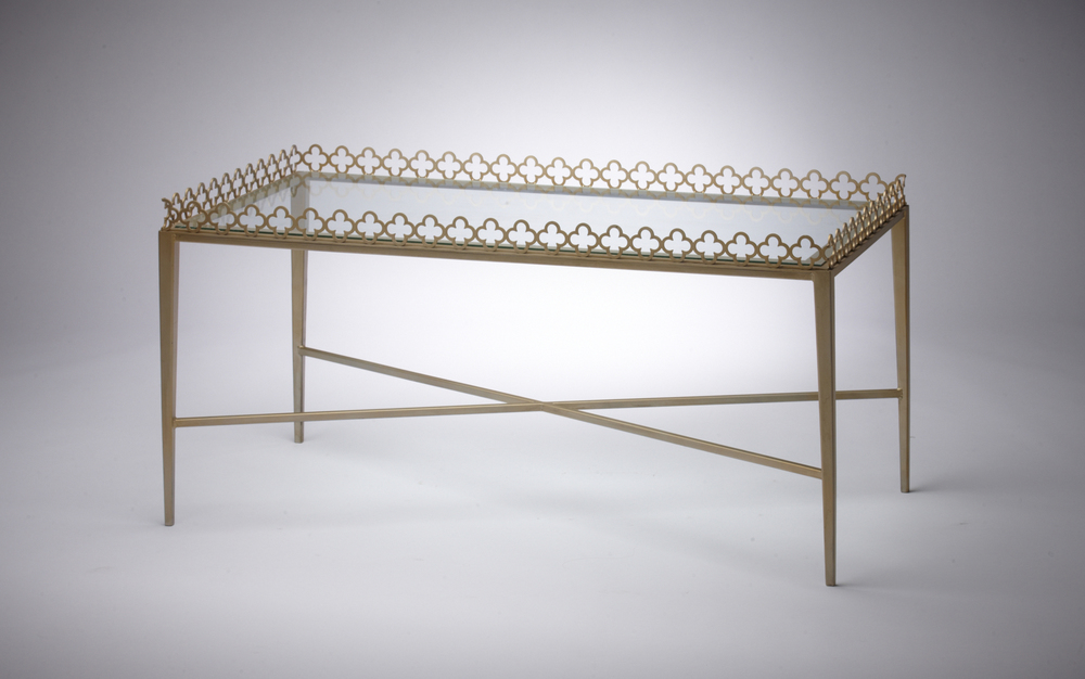 "Jolie Table - Size: 24""Wx48""Lx18""H.  Made in USA.  Can be custom sized and finished."