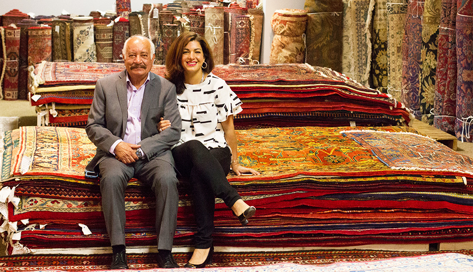Parisa and her father in their Manayunk showroom. | Photo by Lauren McGrath for phillymag.com.