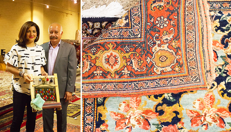 The bdollahis demonstrating how rugs are hand-woven. | Photo by Lauren McGrath for phillymag.com.