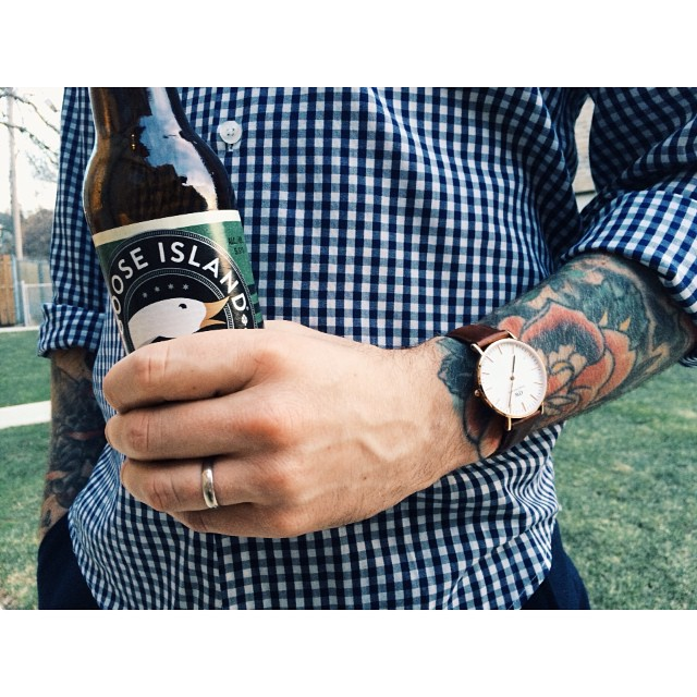 We hope everyone's enjoying their Easter weekend! Time to kick back with a beer. We're closed tomorrow but stop by Wednesday to see all our new spring merch! #danielwellington #gooseisland #barbour #jeremiahclothing #ss15 #chicago #menswear