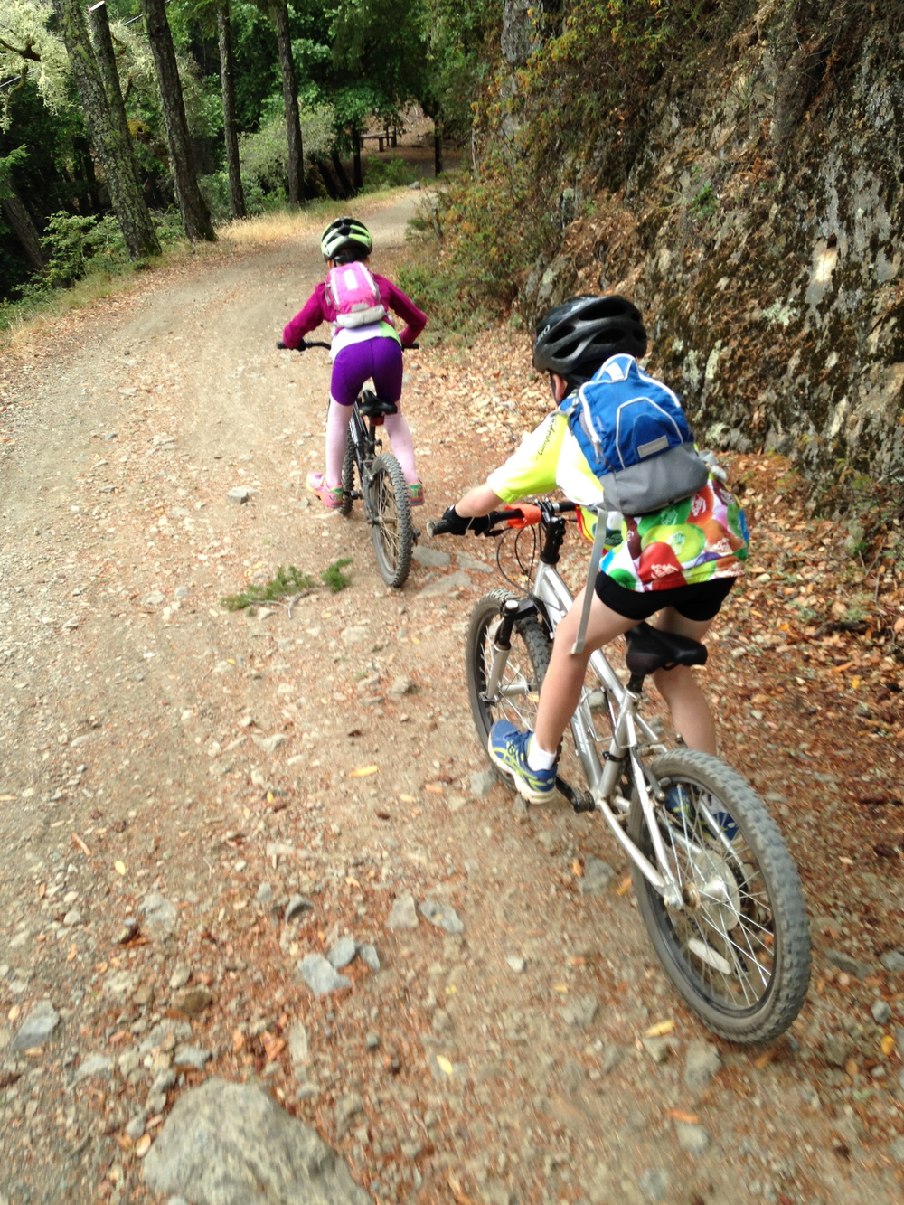 Riding down old railroad grade on Mt Tamalpais in Mill Valley