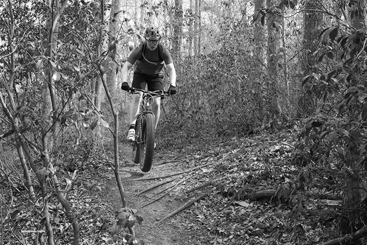 Getting some air on the fat bike. This was taken by my wife for one of her MFA assignments.