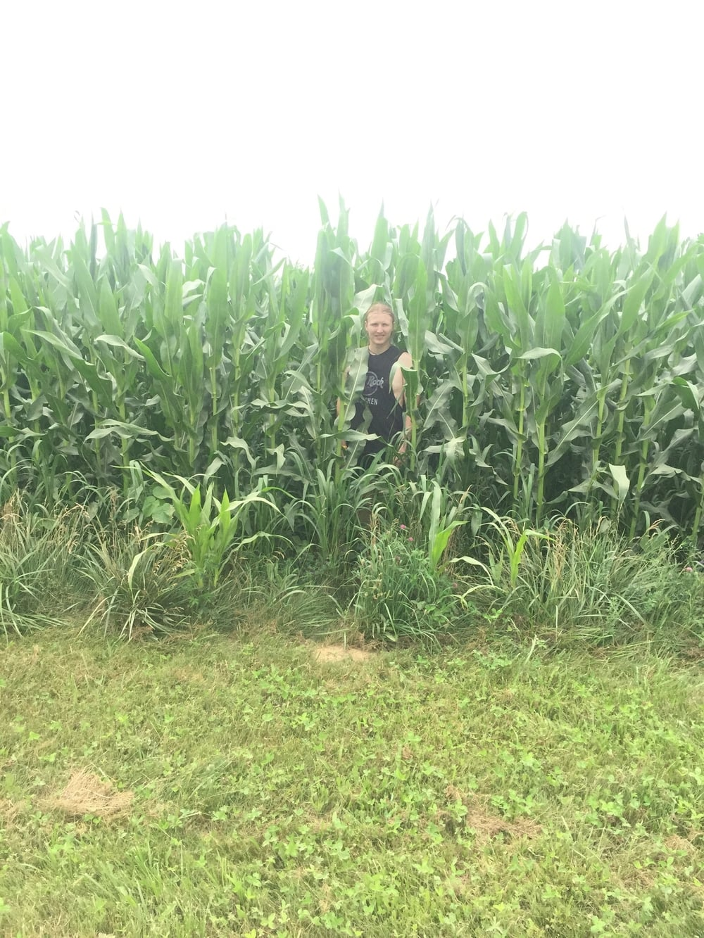 Getting weird in a cornfield. This was after about 10 miles of running. We were both kind of loopy.